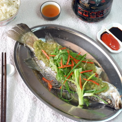 steamed fish with ginger paste image