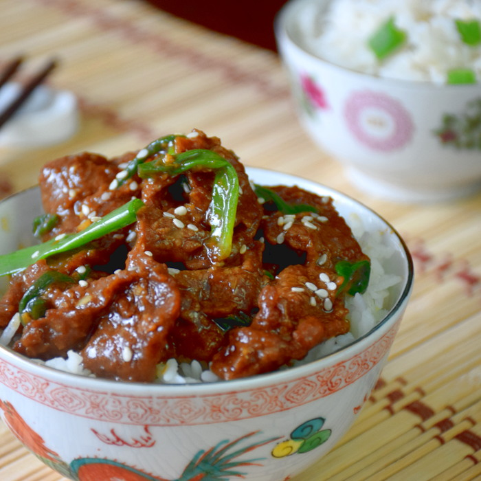 Mongolian beef with rice