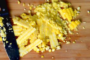 Make chicken and corn soup- cut the corn