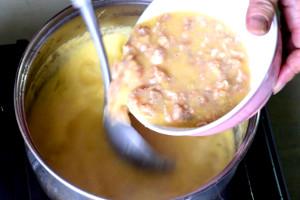 Make chicken and corn soup- add chicken