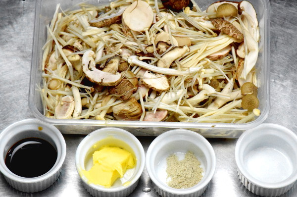 enoki, shimeiji and shiitake mushrroom