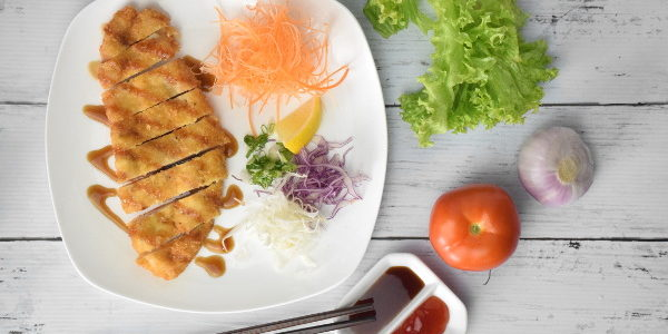 chicken katsu recipe with salad