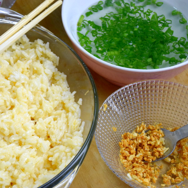 fried rice with garlic and scallions