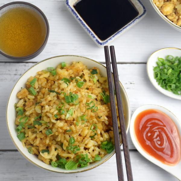 Chinese fried rice top view