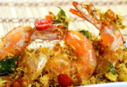 butter prawns with oats