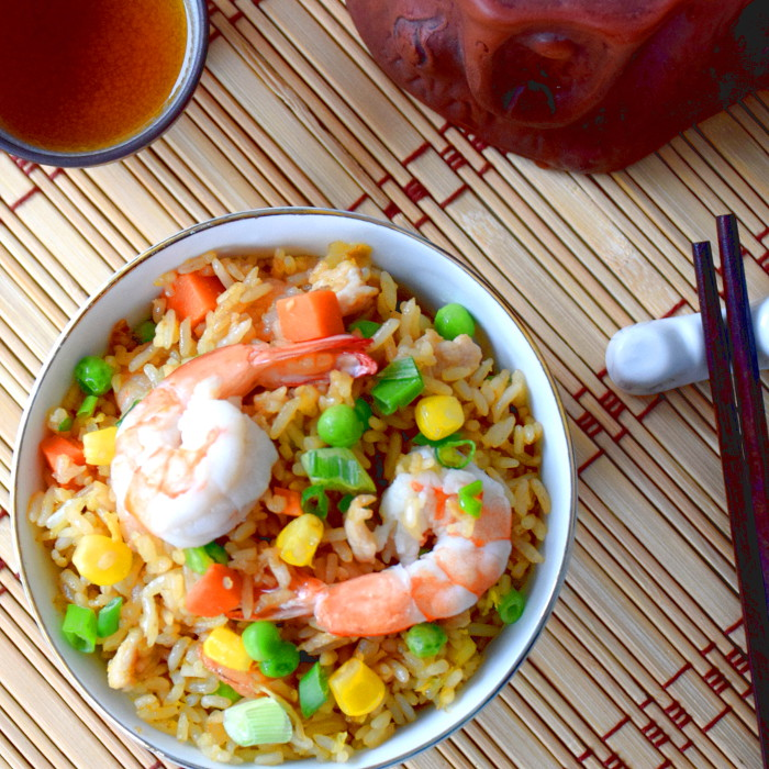 chicken fried rice with shrimp