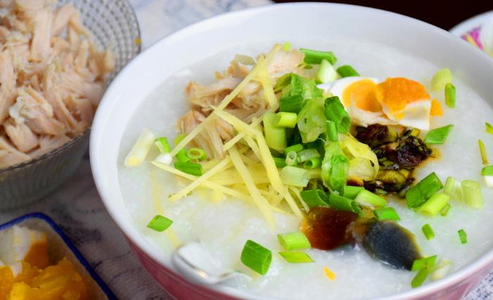 pork and century egg porridge
