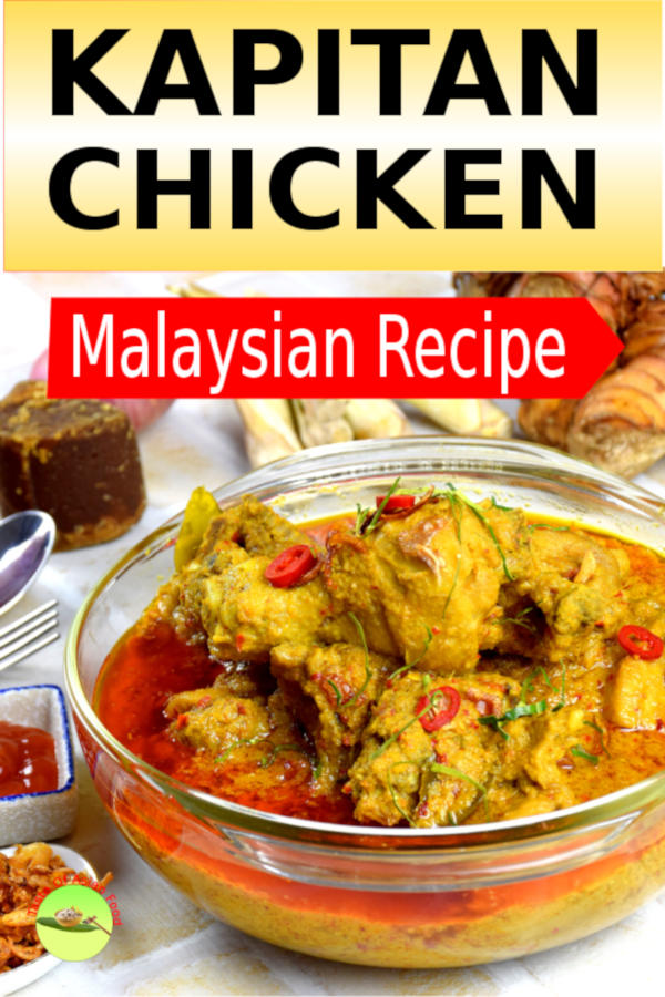 Kapitan chicken (Ayam Kapitan in Malay) is truly a Malaysian curry, the amalgamation of the diverse array of Malay, Chinese and Indian eating culture.  The unique flavor of this Nyonya chicken dish is the result of the complex interplay of a myriad of herbs and spices used by the Malays and Chinese. It is the least spicy Malaysian curry which is ideal for anyone who is unable to bear the heat from some other fiercely hot curries.