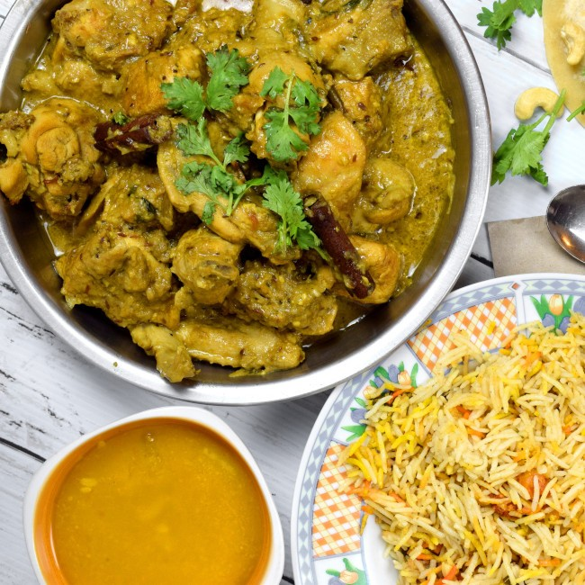 korma chicken with rice