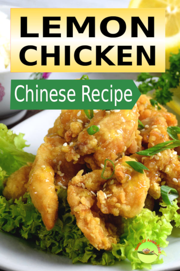This is my newly developed Chinese lemon chicken recipe that has been well tested. The chicken will stay crispy. The flavor of lemon came through sharply. The meat is flavorful inside out, not just on the surface.