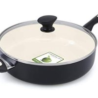 GreenPan Rio 5QT Ceramic Non-Stick Covered Skillet with Helper Handle, Black - CW000058-003