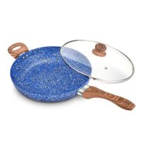 MICHELANGELO 12 Inch Granite Frying Pan Nonstick, Ultra Nonstick Frying Pans with Non toxic Stone Coating, Nonstick Skillet with Lid, Granite Rock Pan 12 Inch, Ceramic Induction Skillet - Blue