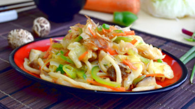 Preparing yaki udon is easy. It is the Japanese version of the fried noodles.