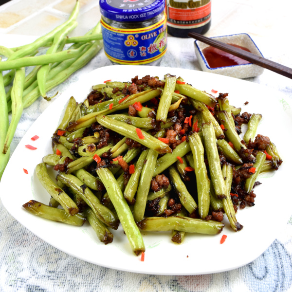 Green beans with minced pork (干煸四季豆)