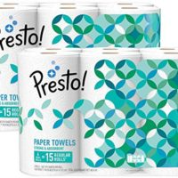 Amazon Brand - Presto! Flex-a-Size Paper Towels, Huge Roll, 12 Count = 30 Regular Rolls