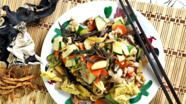 Moo Shu Pork (木须肉) is a traditional Northern Chinese cuisine prepared by stir-frying meat slices, mixed vegetables, and eggs. It is easy to cook, to be served with rice or even as the filing of pancakes.