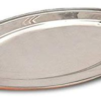 SKAVIJ Dinnerware Set 8-piece, Serving Platter and Bowls Set for Dinner, Snack, Cheese, Salad, Accent, Service of 4 Stainless Steel and Copper, 8-inch
