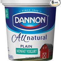Dannon All Natural Quart Plain Nonfat Yogurt, 32 Ounce -- 6 per case.