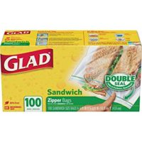 Glad Food Storage Bags, Sandwich Zipper, 100 Count
