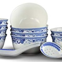 10 Pcs Fine Bone China Blue and White Bowl, with Free 10 Porcelain Spoons, Rice Bowl, Cereal Bowl, Soup Bowl, Fruit Bowl Set