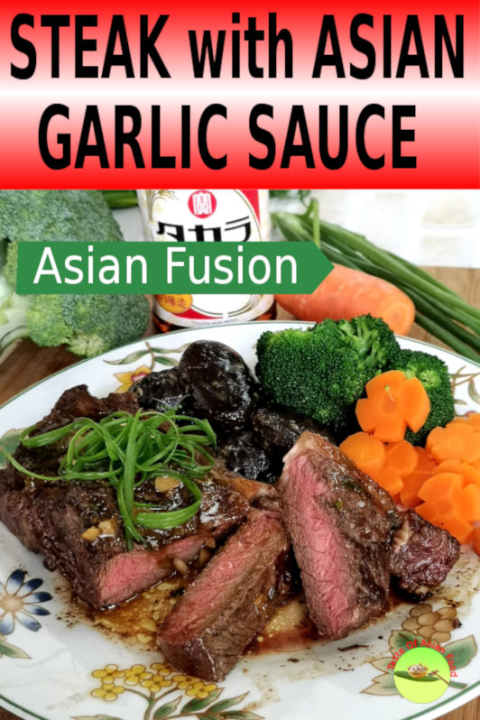I want to share with you how do I prepare the Chinese pepper steak with garlic sauce, with a touch of Japanese flavor. As such, I decided to prepare a steak sauce without cheese, and use garlic, ginger, and scallion as the primary ingredients.