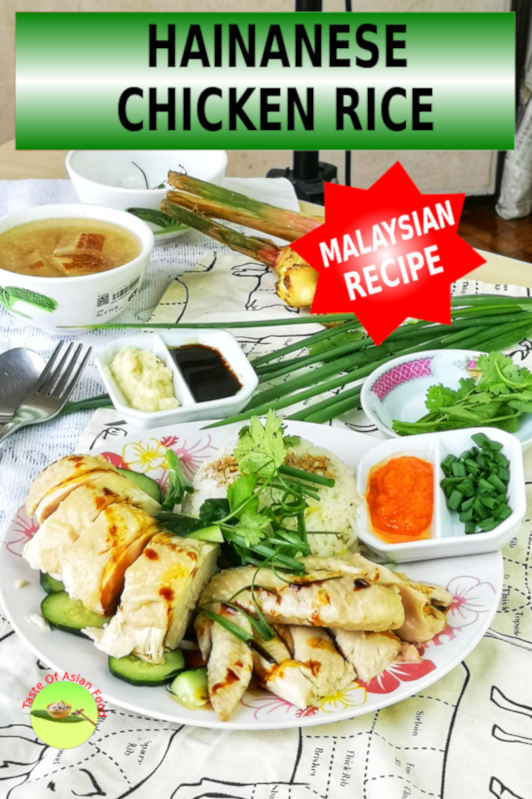 Hainanese chicken rice 海南鸡饭 is the Malaysian/Singapore adaptation of the Wenchang chicken from Hainan province of China. Besides all the recognition received across the globe, serving Hainanese chicken rice is deceptively simple. The chicken is poached in sub-boiling temperature, serve with chili sauce and ginger-garlic sauce, and with flavored rice.