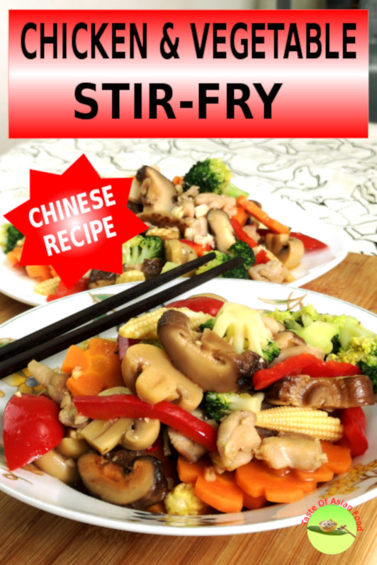 Chicken and vegetable stir-fry is quick to prepare, rich in vitamins and minerals with a balanced proportion of protein, carbohydrates, and fibers.