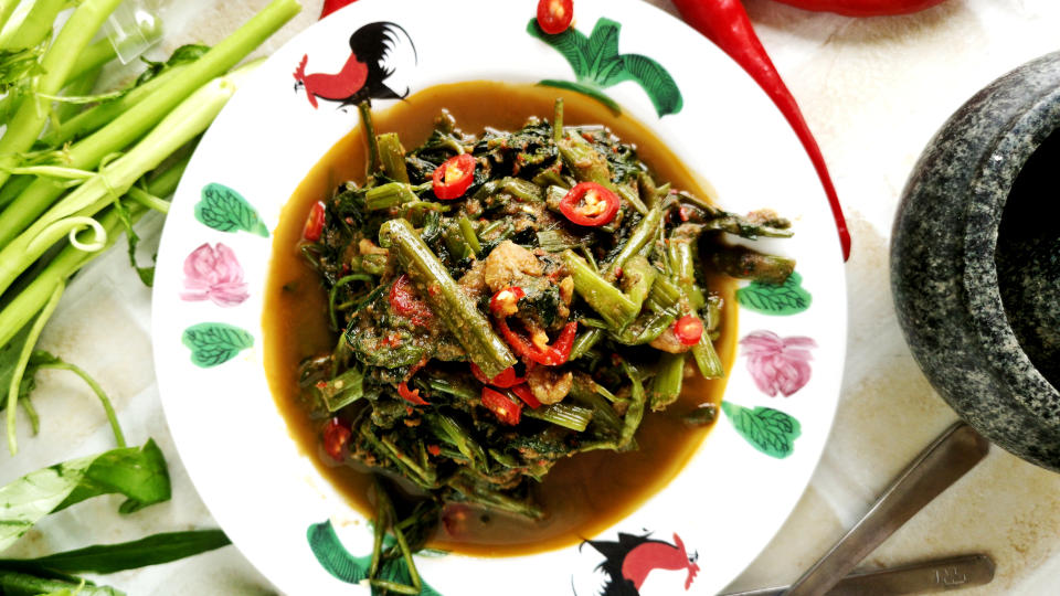 Kangkung recipe with belacan