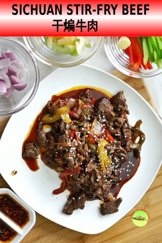 Szechuan beef stir-fry recipe (also called dry-fried beef / 干煸牛肉) is prepared with Szechuan sauce comprises of chili oil, doubanjiang and Szechuan peppercorns. Known to have a bold and intense flavor.