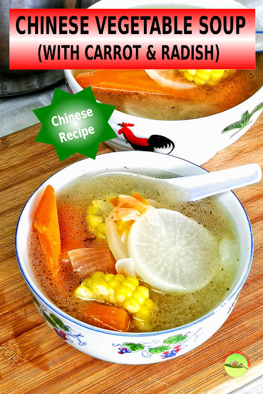 This Chinese vegetable soup is a clear soup with carrot and radish. The soup base is prepared from the chicken bone from scratch.