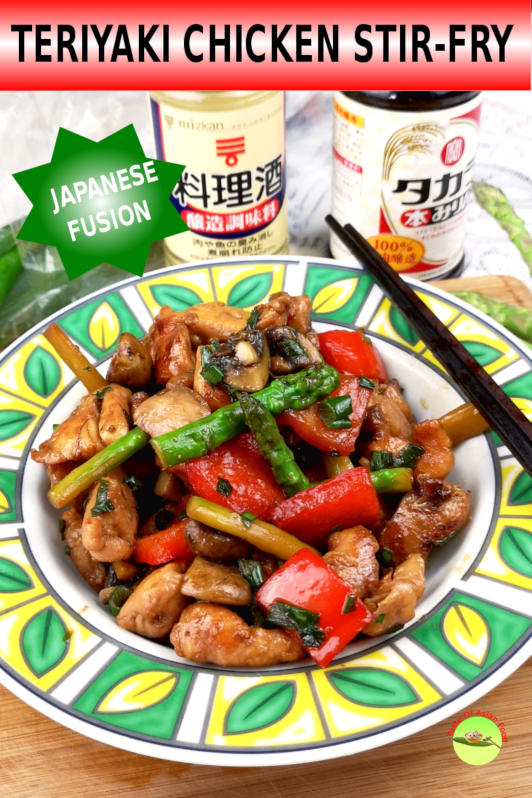 This chicken teriyaki stir-fry is the result of the fusion between the Japanese flavor and some popular vegetables such as the portobello mushrooms and asparagus.