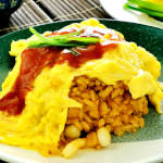 Omurice (オムライス, Omu-raisu) is a Japanese cuisine consisting of ketchup-based fried rice and omelet.