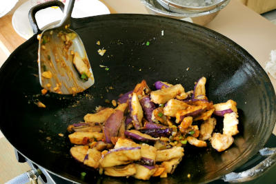 Chinese eggplant recipe - coat the eggplant with sacue