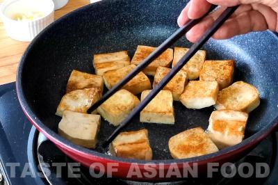 kung pao tofu - fry the tofu
