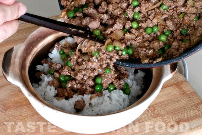 ground beef rice - assemble