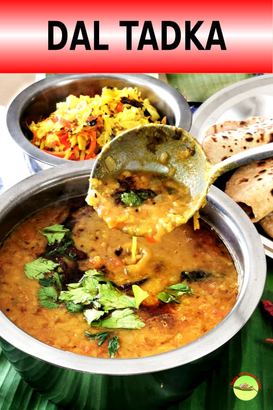 Dal tadka is a popular Indian vegetarian dish flavored with tempered spices. It is prepared with lentil and is best served with rice and rotis.
