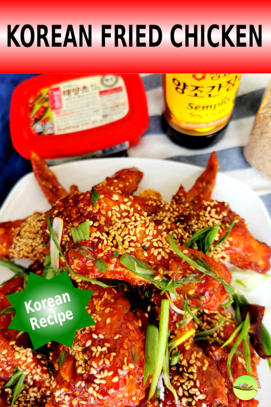 This Korean fried chicken (Dakgangjeong 닭강정) has an exterior that remains crunchy after glazing with a sweet and spicy sauce prepared with the Korean chili paste called Gochujang.