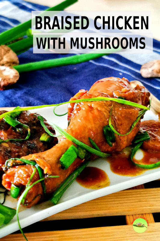 This braised chicken recipe is a typical Cantonese home cook recipe. It is easily upgraded to feature as the main course for the banquet by using the higher grade mushrooms and more elaborate garnish.