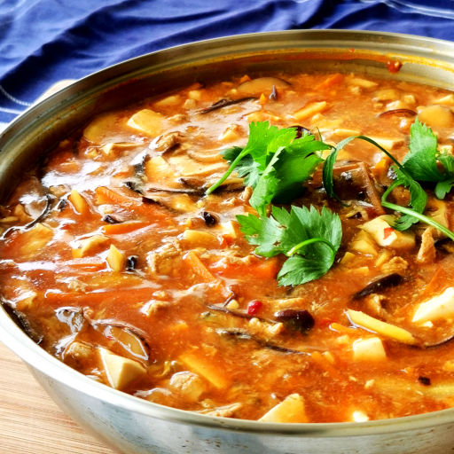 Szechuan hot and sour soup with egg