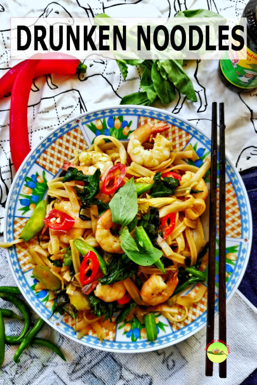 This recipe shows you how to stir-fry Thai drunken noodles (phad kee mao, pad kee mow) that are spicy with plenty of basil.
