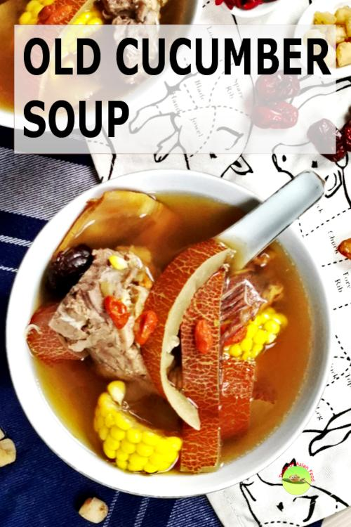 Old Cucumber soup with pork ribs Chinese style
