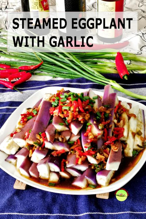 Steamed eggplant with garlic sauce - Healthy, quick and easy recipe.