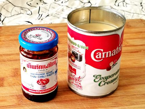 evaporated milk and Thai chili sauce