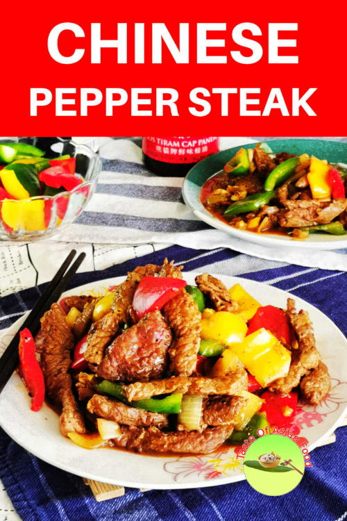 Try this Chinese pepper steak for a change! You may expect this is served uncut, but it is the opposite. The bite-sized pieces of steak are cooked over high heat and caramelized with a savory sauce.