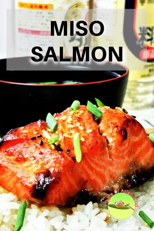 Baked miso salmon recipe, garnish with sesame seeds and scallion