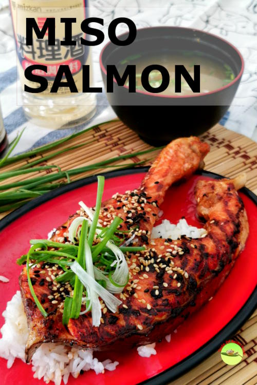 Miso salmon recipe - grilled miso salmon on a bed of steamed rice