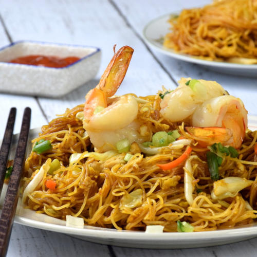 A closer look at the Singapore noodles.