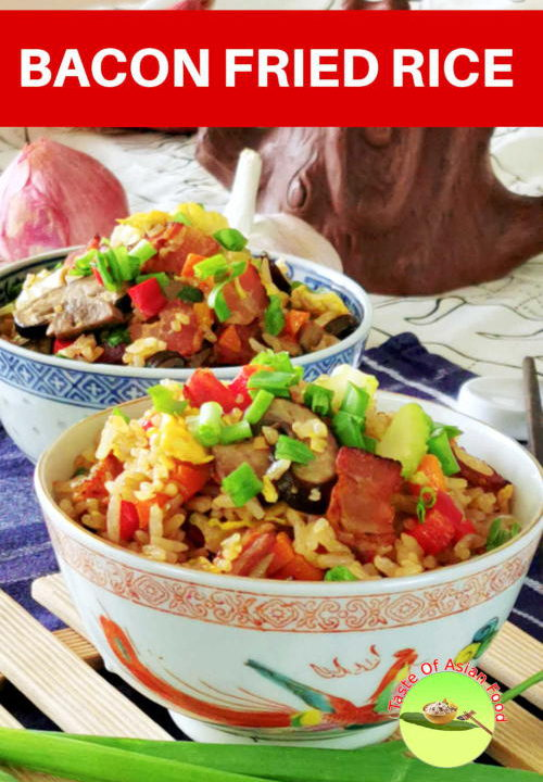 Bacon fried rice. If you are bored eating the regular egg fried rice, try this bacon and mushroom fried rice.  If you are bored eating the regular egg fried rice, try this bacon and mushroom fried rice.