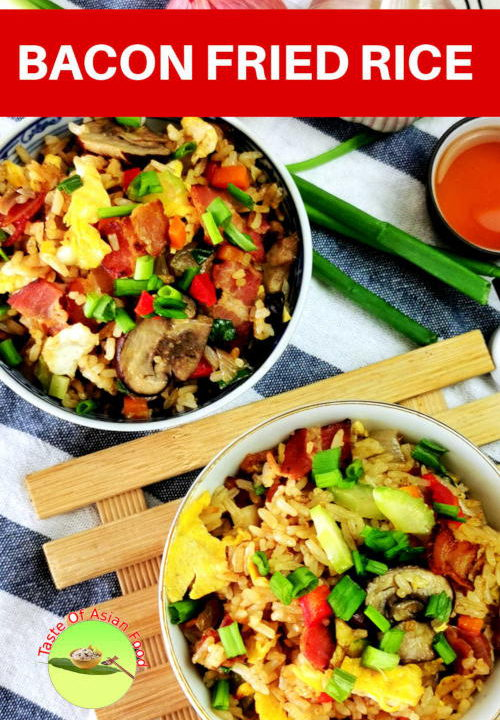 If you are bored eating the regular egg fried rice, try this bacon and mushroom fried rice.  If you are bored eating the regular egg fried rice, try this bacon and mushroom fried rice.