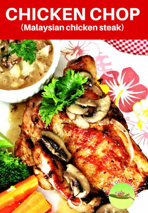 The chicken chop is the Malaysian homegrown western dish. It is partially western because it is either cooked like steak on the grill or deep-fried like KFC chicken. It is also served with a cream sauce. It is also called chicken sterak.